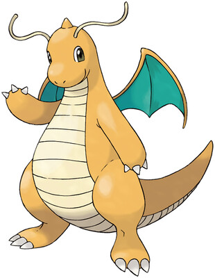 Dragonite artwork by Ken Sugimori