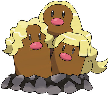 Alolan Dugtrio artwork by Ken Sugimori
