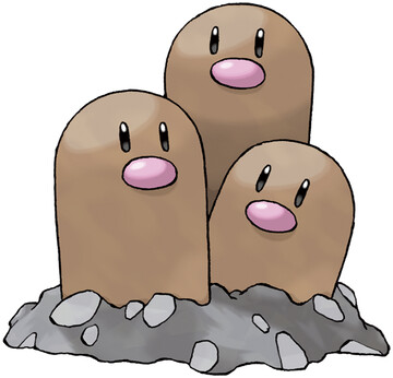 Dugtrio artwork by Ken Sugimori
