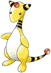 Ampharos Early Sugimori artwork - Gold/Silver