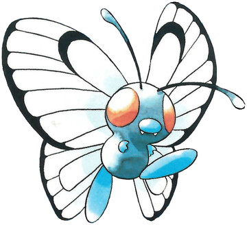 Butterfree Early Sugimori artwork - Red/Blue US
