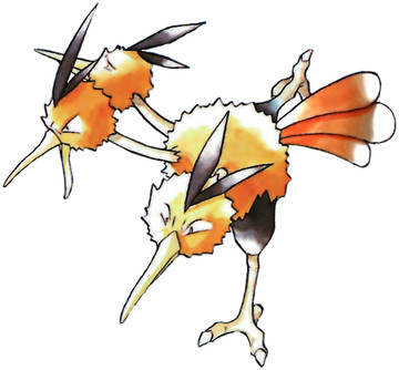 Dodrio Early Sugimori artwork - Red/Blue US
