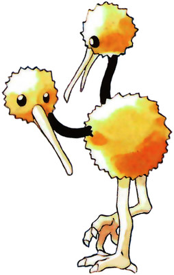 Doduo Early Sugimori artwork - Red/Blue US