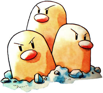 Dugtrio Early Sugimori artwork - Red/Blue US