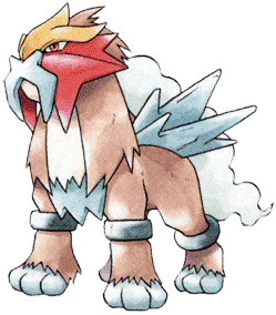 Entei Early Sugimori artwork - Gold/Silver