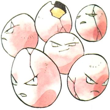 Exeggcute Early Sugimori artwork - Red/Green JP
