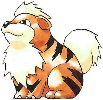 Growlithe Early Sugimori artwork - Red/Green JP