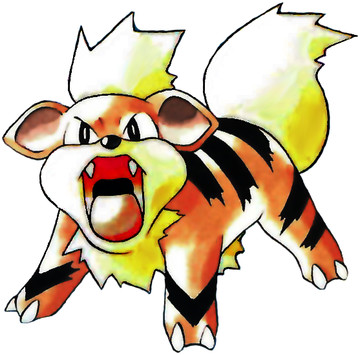 Growlithe Early Sugimori artwork - Red/Blue US