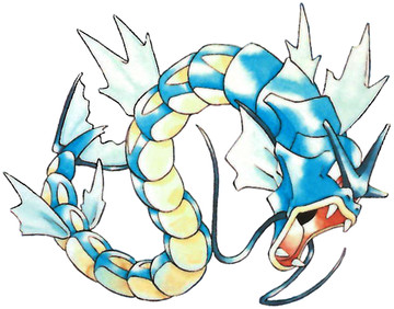 Gyarados Early Sugimori artwork - Red/Blue US