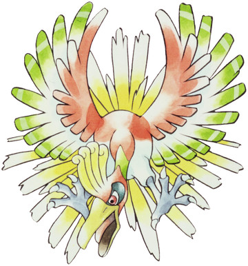 Ho-oh Early Sugimori artwork - Gold/Silver