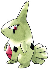 Larvitar Early Sugimori artwork - Gold/Silver