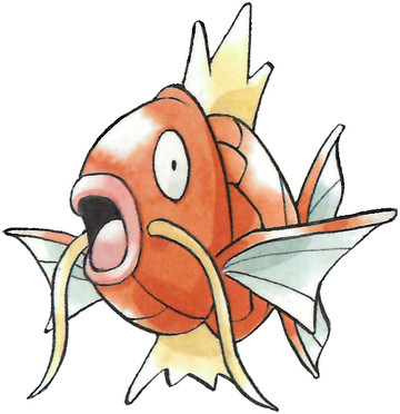 Magikarp Early Sugimori artwork - Red/Green JP