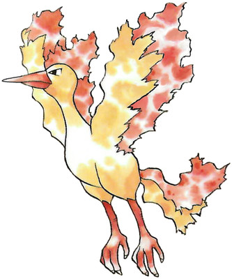 Moltres Early Sugimori artwork - Japan