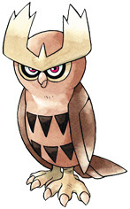 Noctowl Early Sugimori artwork - Gold/Silver