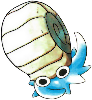 Omanyte Early Sugimori artwork - Red/Blue US