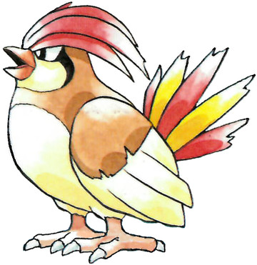 Pidgeotto Early Sugimori artwork - Red/Green JP