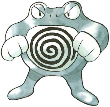 Poliwrath Early Sugimori artwork - Red/Green JP