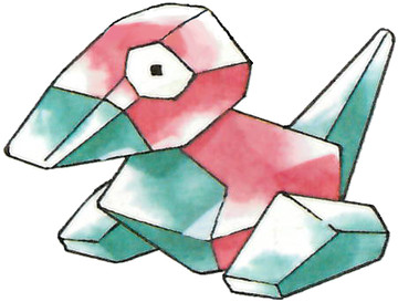 Porygon Early Sugimori artwork - Red/Green JP