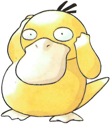 Psyduck Early Sugimori artwork - Red/Green JP