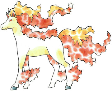 Rapidash Early Sugimori artwork - Japan