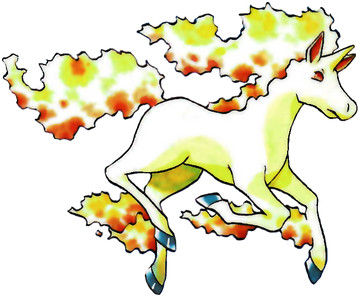 Rapidash Early Sugimori artwork - Red/Blue US