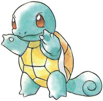 Squirtle Early Sugimori artwork - Red/Green JP