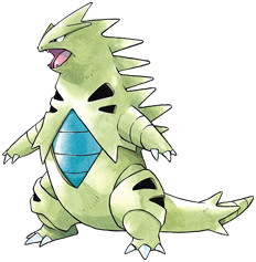 Tyranitar Early Sugimori artwork - Gold/Silver