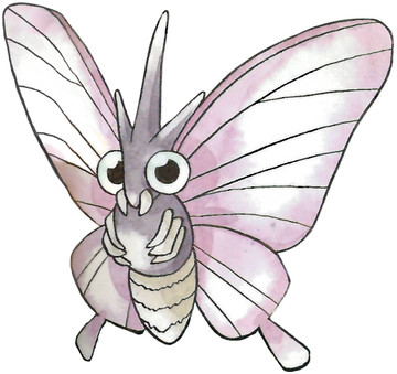 Venomoth Early Sugimori artwork - Japan