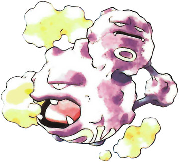Weezing Early Sugimori artwork - Red/Blue US