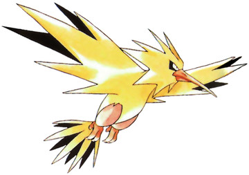 Zapdos Early Sugimori artwork - Red/Blue US