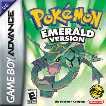 Pokemon Emerald box art featuring Rayqauza