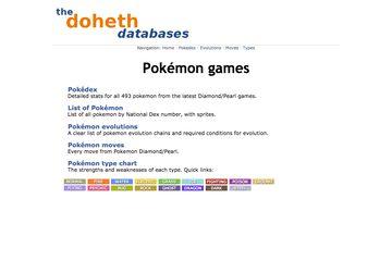 PokemonDb plain home page
