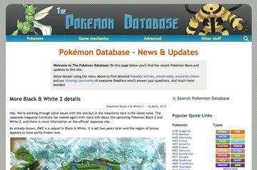 PokemonDb Web 2.0 design home page