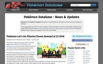PokemonDb modern design home page