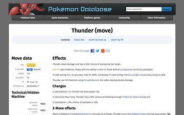 PokemonDb modern design Thunder move page