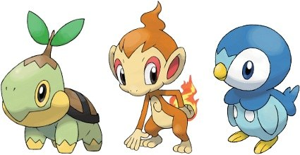 Turtwig, Chimchar and Piplup