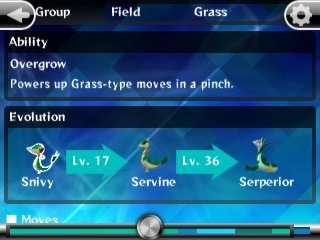 Snivy's evolution and abilities