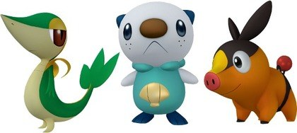 The Unova starters in 3D