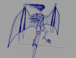3D wireframe of Noivern