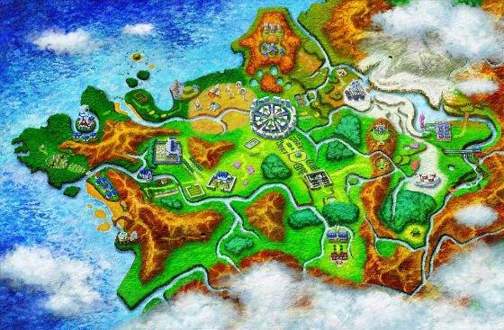Map of Kalos in Pokemon X/Y