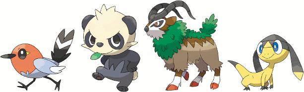 New Pokemon - Fletchling, Pancham, Gogoat, Helioptile